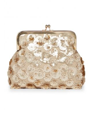 Gold Flowers Pouch Clutch