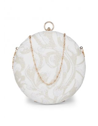 White Embroidered Round Clutch