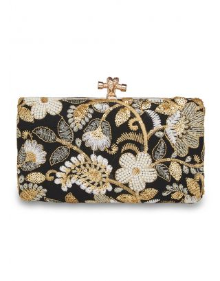 Black & Goldern Floral Clutch