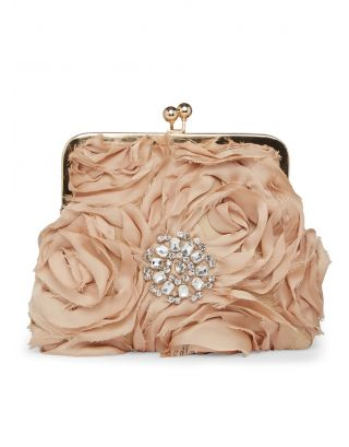 Golden 3D Roses Clutch