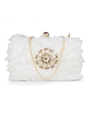 White Fluffy Clutch