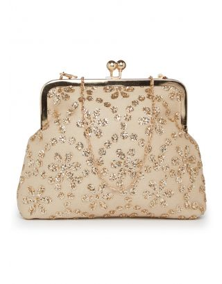 Beige & Golden Clutch Sling