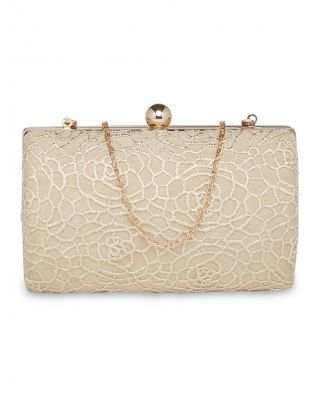 White and Gold Rose Lace Clutch