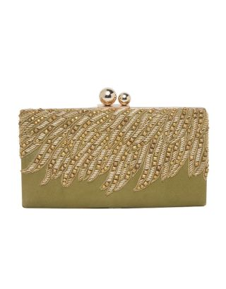 Green & Golden Leather Clutch