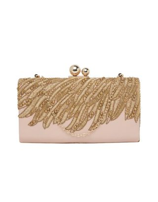 Pink & Golden Leather Clutch
