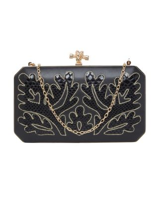 Black and Gold Box Clutch