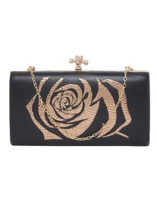 Black Rose Printed Clutch