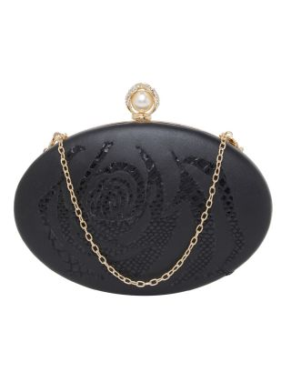 Black Rose Printed Round Clutch