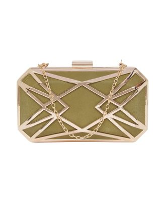 Olive Green Geometric Clutch