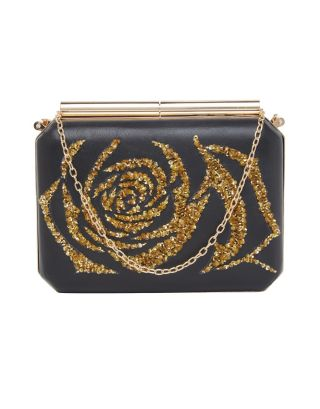 Black Clutch with Gold Print
