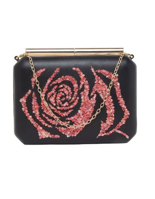 Black Clutch with Rose Print