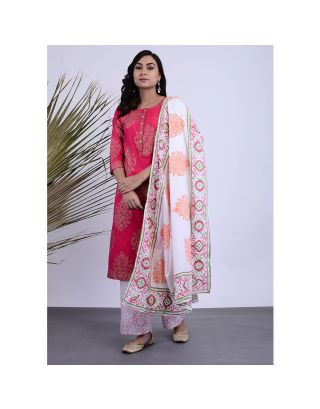 Pink and White Block Printed Kurta Palazzo Set with Dupatta