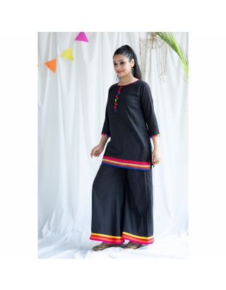 Black Cotton Kurta Set