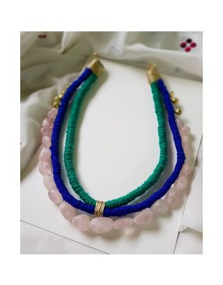 Blue and Green Thread Stone Necklace