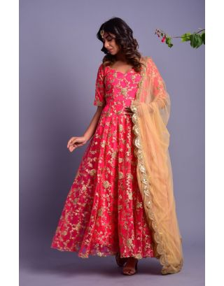 Pink Embroidered Anarkali with Golden Dupatta
