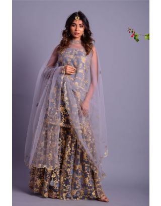 Grey Sleeveless Embroidered Sharara Set