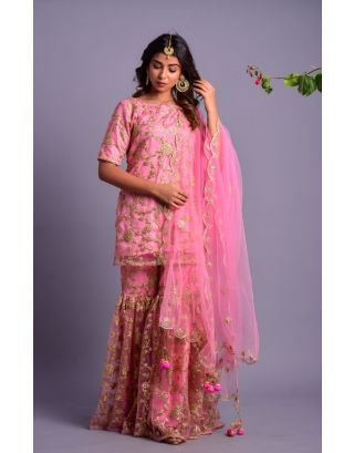 Light Pink Embroidered Kurta Gharara Set