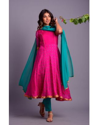 Pink Anarkali Kurta with Green Pants and Dupatta