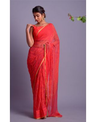 Orange Bandhani Printed Saree