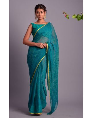 Rama Green Printed Saree