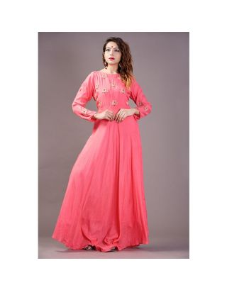 Coral Pink Asymmetrical Flared Dress