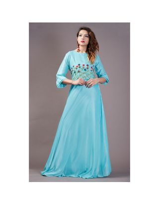 Blue Thread Embroidered Gown