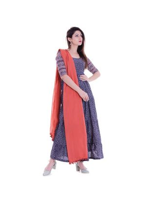Blue Floral Anarkali with Red Cotton Dupatta