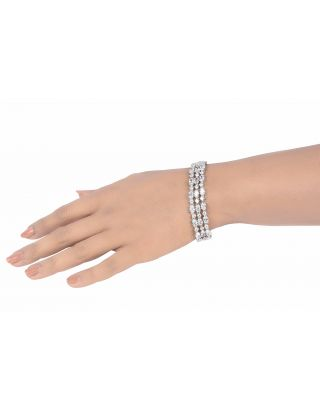 Oval and Round Solitaire Bracelet