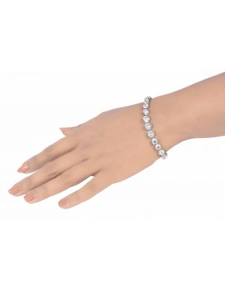 White Solitaire Silver Bracelet