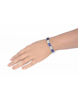 Blue Sapphire and Diamond Cluster Bracelet
