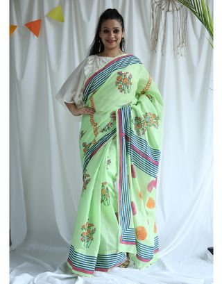 Light Green and Blue Cotton Saree
