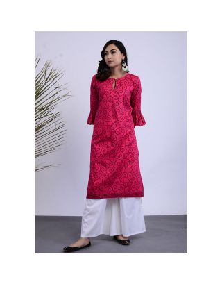 Pink and White Kurta Palazzo Set