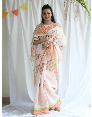 Peach and Green Printed Saree