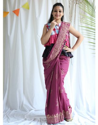 Purple Golden Printed Cotton Saree