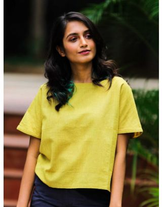 Mustard Wide Neck Cotton Top