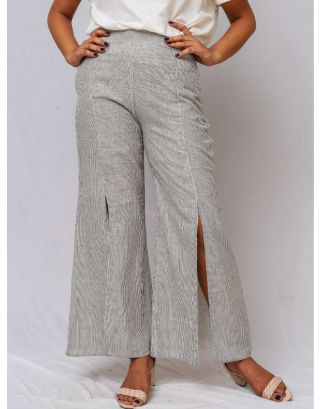 Black & White Stiped Flared Trouser