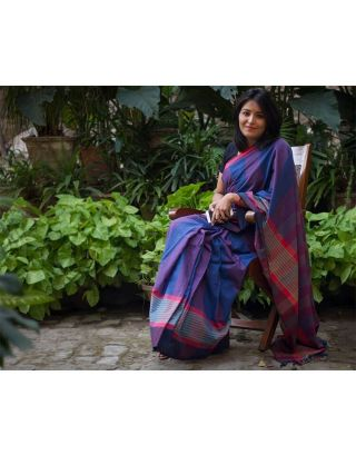 Indigo Saree with Red Lines