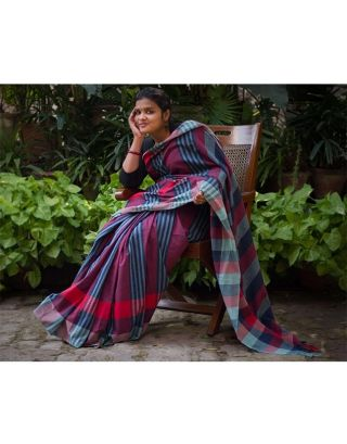 Blue and Red Stripes Saree