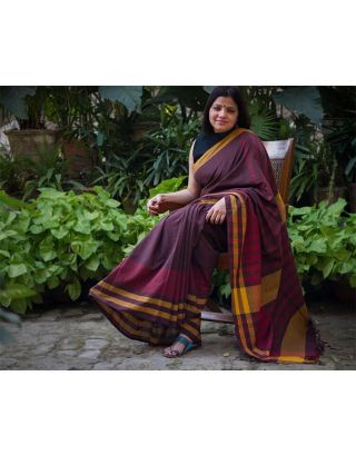 Brown and Maroon Saree
