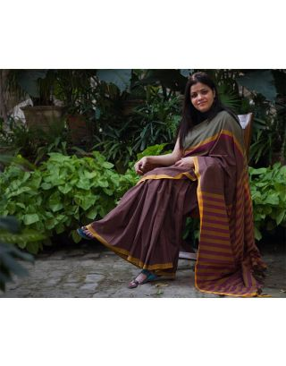 Brown Saree with Yellow Stripes
