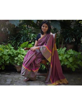 Wine colour saree with border