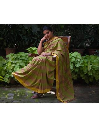 Mehandi Green Saree with Yellow Borde