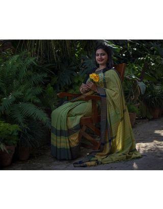Soft Cotton Green Saree