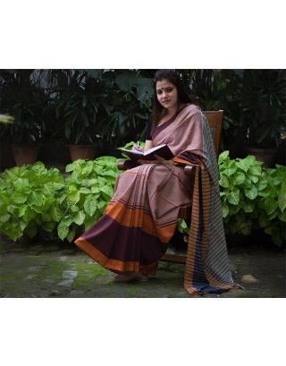 Grey, Blue and Orange Saree