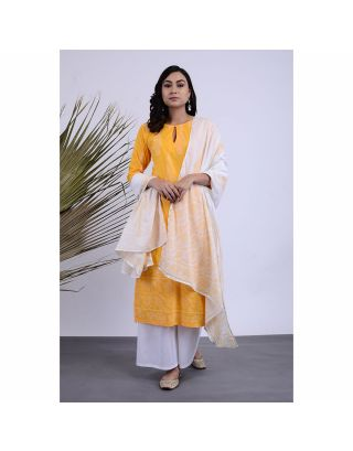 Yellow Printed Kurta Palazzo Set with Dupatta