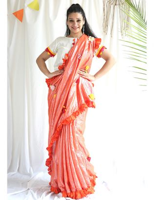 Orange Shimmer Saree with Blouse