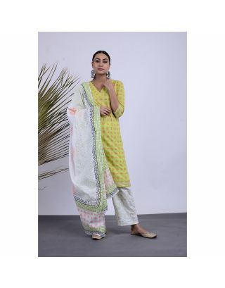 Green Block Printed Kurta Pants Set with Dupatta