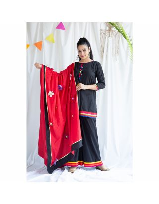 Black Palazzo Set With Red Dupatta