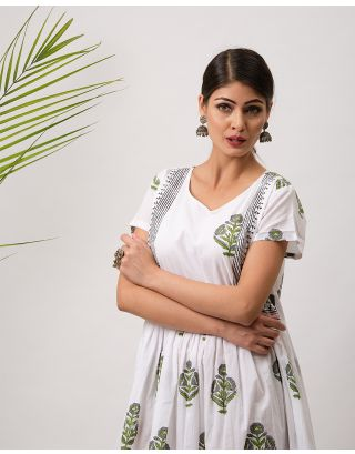 White Cotton Hand Block Printed Dress