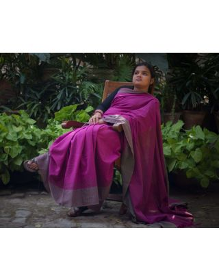 Pink Handloom Cotton Saree